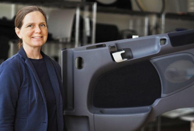 Development Manager Anette Munch Elmér with door panel